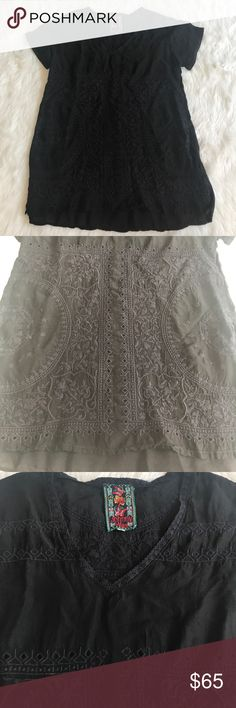 Johnny Was V neck Embroidered blouse Beautiful like new Johnny Was embroidered short sleeved shirt in black.  Amazing condition. Johnny Was Tops Blouses