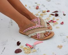 Handmade genuine greek leather sandals.  Strappy gladiator sandals with two wide leather starps that embrace the foot. Sandals Flamingo are embellished with rose and rose-gold cotton trims, white fringes and tiny pastel-colored crystal trims. Very comfy and classy pair of sandals. Flamingo sandals are very fashionable because of the x-strap design and very special because of their embellishements. You will definately enjoy them!  Sizes available…