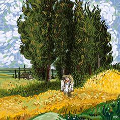 Iranian cartoonist Alireza Karimi Moghaddam celebrates the life and art of Vincent van Gogh in an ongoing webcomic series. Vincent Van Gogh, Arte Van Gogh, Van Gogh Art, Art Van, Wassily Kandinsky, Creative Illustration, Illustration Art, Comic Illustrations, Rembrandt