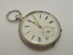 Antique beautiful ornate 935 solid silver Ladies Pocket watch with seconds hand