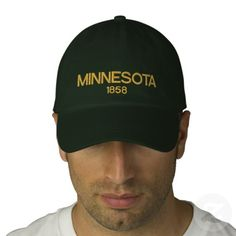 Minnesota Embroidered Personalized Adjustable Hat