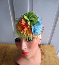 1950s Unique Hat with Vivid Colored Flowers       Rubber Hat  44.00 Vintage 6e5033deada1