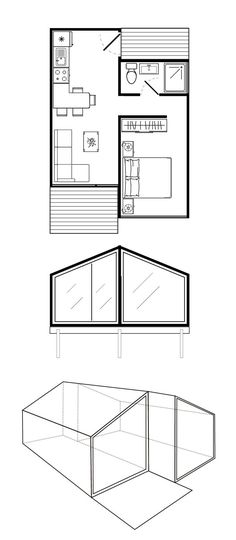 Extend bedroom wall to add extra closet closets in bedroom) and reading chair nook. Tiny House Cabin, Cabin Homes, Small House Plans, House Floor Plans, Container Home Designs, Small House Design, Cabin Plans, House Layouts, Little Houses