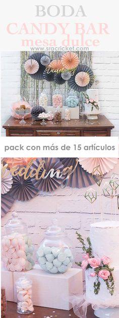 comprar pack productos para mesa dulce boda o comunión. Candy bar boda. más de 15 productos. #candybar #mesadulce #boda #comunion Decoración de fiestas, bodas o comunión
