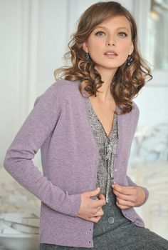 Cashmere V Neck Cardigan | Brora Scottish Cashmere ~ this muted lavender/lilac