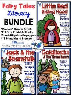 This bundle has everything you need to set up independent Readers' Theater literacy centers in your classroom! It includes a complete set for Jack and the Beanstalk, Goldilocks and Little Red Riding Hood. Each set has similar activities to promote independence and confidence across all three stories.