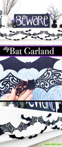 DIY Bat Garland made with Cricut - designed by Jen Goode