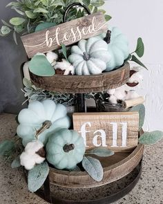 21 Best Tiered Tray Decor Ideas for Fall Fall Home Decor, Autumn Home, Diy Home Decor, Blue Fall Decor, Fall Decor Signs, Fall Kitchen Decor, Fall Signs, Thanksgiving Decorations, Seasonal Decor