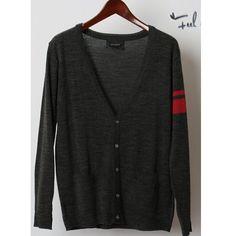 Men Fashion Korean Style Long Sleeve Printing Color Blocking Dark Grey... ($20) via Polyvore