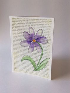 Watercolor all occasion greeting card, Hand-painted purple flower on hand-stamped text background,  Blank floral note card on Etsy, $5.00 CAD