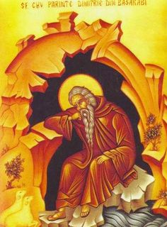 Saint Demetrius of Basarabov (13th cent Bulgaria) in his cave near the river Lom. The Lord granted him the gift of foresight. Foretelling the time of his death, he placed himself between two pillars of rock in his cave and died peacefully. (Oct 27)
