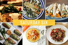 Saturday Six - Crispy Cauliflower Sweet Potato Cakes/ Roasted Broccoli and Carrots with Crispy Quinoa, Goat Cheese, and Lemony Oregano Dressing/  Smoky Sweet Potato Black Bean Tacos/ Winter Summer Rolls + Orange Ginger Cashew Dip / Carrot Cake Chia Pudding/  Mediterranean Quinoa Salad