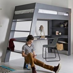 The Julien loft bed and desk is a space-saving combo with a sleek and modern design. With lots of room for storage and a spacious work surface tucked underneath, kids and teens can harness their creativity without compromising on style. The stairs are a nice alternative to ladder rungs and make it easier to carry a book or binder to the top for some light studying before bed.