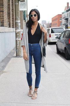 bodysuit and high waist jeans