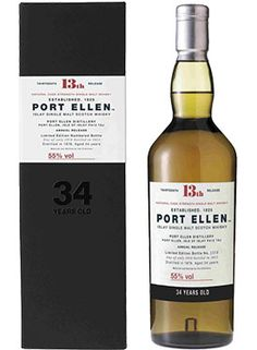 Port Ellen 13th Release 34 Year Old Single Malt #Scotch Whisky Whisky.  The 13th annual release from the famed Port Ellen Distillery, this bottle of single malt #whisky is one of the most collectible in the world.   @Caskers