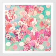 Romantic Pink Retro Floral Pattern Teal Polka Dots  Art Print by Girly Trend - $14.00