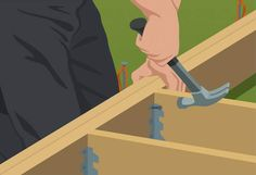 Attach inner joists faces - Build Ground-Level Deck
