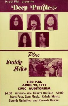Deep Purple, Buddy Miles - Hilo Civic Auditorium on 23 Apr 1972 Tour Posters, Band Posters, Music Posters, Rock & Pop, Rock And Roll, Buddy Miles, Pops Concert, Vintage Concert Posters, Vintage Music