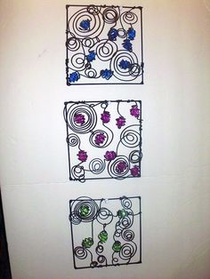 Wire and Ice Wall Decor Squares. $25.99, via Etsy.