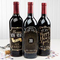 Happy New Year! Personalized Wine Bottle Label Set