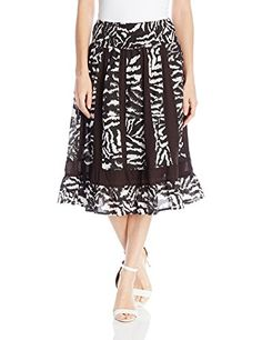 NY Collection Women's Printed Knee Length Paneled Skirt with Smocked Waistband, Jet Digit Zebra, X-Large
