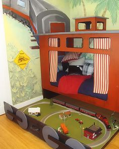 Train bed - fast clean up with a train set that can be put underneath the bed when the kids are done playing with it!