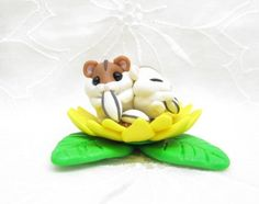 Petit Cute Dwarf Hamster's in Sunflower field  Sculpture  Fimo Polymer Clay Kawaii Mouse Pet  One-Off One of a Kind