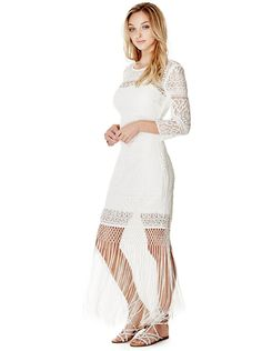Clark Three-Quarter Sleeve Lace Dress at Guess Guess Girl, Queen Dress, Lace Dress With Sleeves, Jumpsuit Dress, Sexy Dresses, Woman Dresses, Bohemian Style, Boho Chic, White Lace