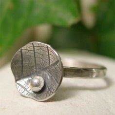 Sterling Silver Stacking Ring, Oxidized Silver Lily Pad & Dewdrop Stackable Ring, Organic Silver Leaf Ring, Hand Forged Nature Jewelry