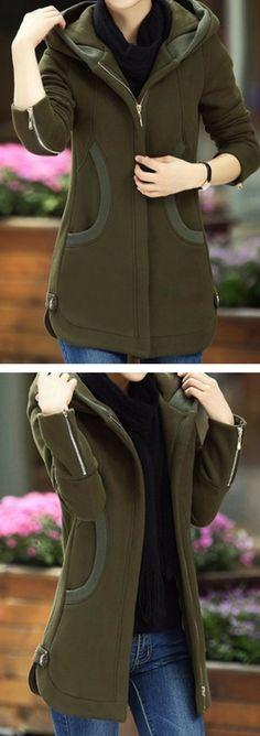 Army Green Zipper Up Long Sleeve Pocket Coat.
