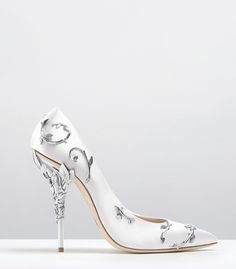 Ralph & Russo - Haute Couture Collection SHOES - STYLE 08-EDEN PUMPS-WHITE SATIN WITH SILVER LEAVES