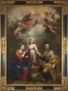 The Heavenly and Earthly Trinities, c.1675-82, Bartolomé Esteban Murillo; the Holy Trinity (God, the father; the Holy Spirit, symbolised by a dove; God, the son: Jesus) is represented vertically; the 'earthly trinity': Mary (with her attribute of a blue mantle), Jesus and Joseph (with his symbolic attribute of a staff) are shown horizontally. (National Gallery)