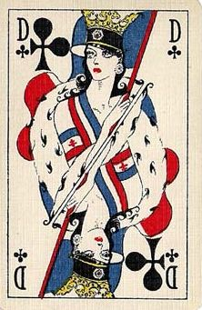 "Playing Cards - Queen Of Clubs, ""L'union Fait la Force"" (the Allied pack) Second World War Playing Cards by Mesmaekers Frères, Turnhout, 1945 - playingcards, playingcardsart, playingcardsforsale, playingcardswiththefamily, playingcardswithfamily, playingcardsgame, playingcardscollection, playingcardstorage, playingcardset, playingcardsproject, cardscollector, playingcard, design, illustration, cards, cardist"