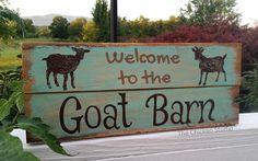 Goat Sign Willkommen im Goat Barn Farm Sign Ziegen-Dekor fuhrmannbaby Levis Store, Goat Playground, Goat Pen, Show Goats, Goat Care, Nigerian Dwarf Goats, Raising Goats, Farm Signs, Wood Signs