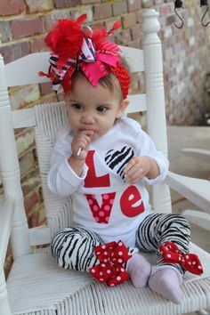 Baby Girl Valentines Day Outfit --  Little Diva Valentine -- zebra LOVE onesie and leg warmers. $34.00, via Etsy.