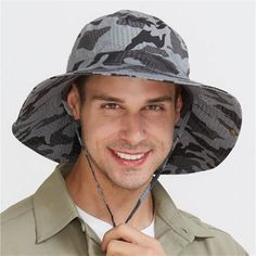 29d5e168a64 Military style camo fishing hat with string for men outdoor wide brim  bucket hats hiking wear