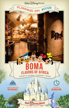 Walt Disney World Planning Pins: Resembling a lively African marketplace, this restaurant features all-you-care-to-enjoy buffets at breakfast and dinner.