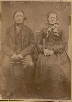 0378 Antique CDV of European man in farmer coat and his wife 1860's