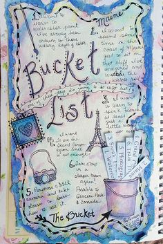 Bucket List journal page with slot in bucket for strips of paper.  Too cute!                                                                                                                                                                                 More