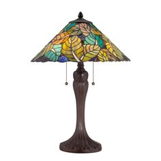 "TF1485TRS - Tiffany 23"" Colorful Leaves 2-Light Table Lamp by Quoizel Lighting"