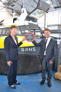 SR.N5 Hovercraft, September 2013. Prof Isobel Pollock, Immediate Past President of the Institution of Mechanical Engineers presnting the award to Warwick Jacobs, Trustee of the Hovercraft Museum.