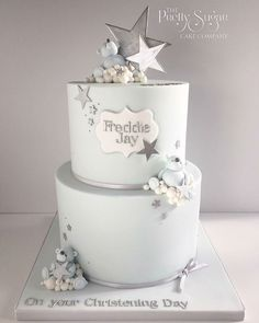 Teddy bears and stars Christening cake
