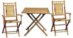 Table Chairs Bamboo 3 Piece Bistro Set