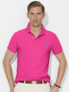 Polo Ralph Lauren Men\u0026#39;s Slim-Fit Mesh Polo Ultra Pink 4249751 #Ralph Lauren#