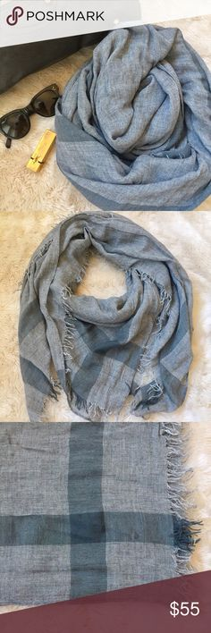 """Club Monaco Lightweight Grey Scarf Lightweight wool blend scarf adds a touch of warmth and sophistication to cold-weather looks. Fabrication tag has been cut out so I'm not 100% sure on the content but it's feels like a wool/silk blend. 52"""" x 52"""". Like-new condition. *Scarf in the full outfit picture is not this exact scarf, it is an inspiration for how you can style it!* Club Monaco Accessories Scarves & Wraps"""