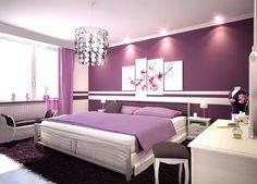 Quarto decorado com a cor roxa para ilustrar o artigo Como escolher a melhor cor para o quarto