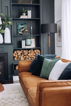 Home Interior Farmhouse New Living Room, Home And Living, Living Room Decor, Tan Sofa Living Room Ideas, Dark Grey Walls Living Room, Dark Cozy Bedroom, Grey Living Room With Color, Brown Leather Couch Living Room, Living Room Cushions