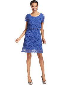 London Times Dress, Short-Sleeve Scallop Lace - Dresses - Women - Macy's