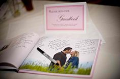 Want a guest book you'll actually look at again?  Create a photo book of your maternity pictures for guests to sign. This idea is so cute!