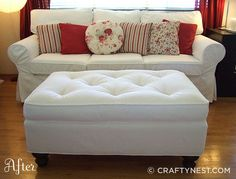 Reupholstered ottoman.  Full tutorial!  I love this idea.  I have a non matching ottoman and I am going to try this.